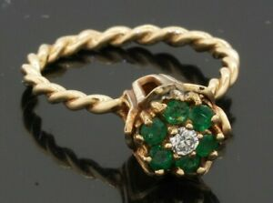 Vintage 14K gold .52CTW VS/F diamond & emerald cluster flower ring w/ cable band