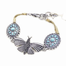 Lucky Brand Antiqued Silver Tone Pave Stone Butterfly Turquoise Leather Bracelet