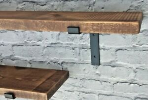 Shelf Rustic Chunky Industrial Handmade Shelves/2xMetal Brackets/Solid Wood