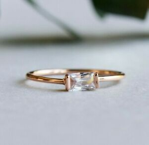 14k Rose Gold Vermeil Ring, Baguette Ring, 925 Sterling Silver Ring