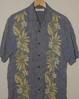 Tommy Bahama Shirt Mens Blue Gold Striped Hawaiian Shirt Floral Aloha Size Large