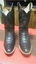 Mens Cowboy boots 8.5 EE Tabacco Brown Caiman Tall Alligator Hand Restored
