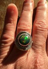 1950s Vintage Solid Sterling Silver & Natural Solid Australian Black Opal Ring.