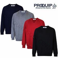 PROQUIP MENS MERINO WOOL V NECK SWEATER GOLF JUMPER WATER REPELLENT