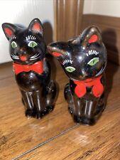 Vintage Japan Shafford Black Cat Redware Salt and Pepper Shakers