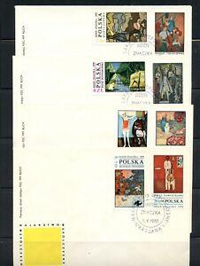 Z492 Poland 1970 Polish Paintings FDC's set of 4
