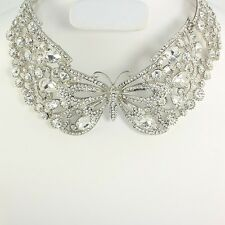 LUXE Silver Austrian Crystal Butterfly Bridal Necklace & Earrings Rocks Boutique