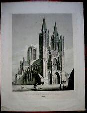 gravure eau forte XIX°.Cathédrale de Coutances par Chapuy gravée par Dureau