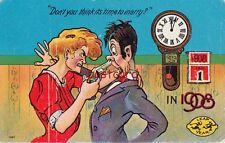 """1908 LEAP YEAR Woman Gun to Man's Head, """"Don't you think its time to marry?"""""""