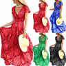 Plus Size Women Boho Floral V Neck Maxi Dress Summer Holiday Short Sleeve Dress