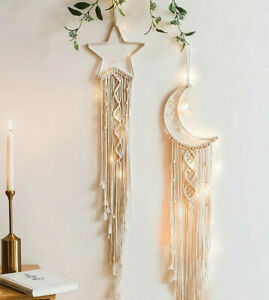 Macrame Moon Star Dreamcatcher Wall Art Boho Dream Catcher Vintage Style Girls