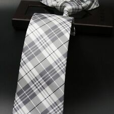 NEW Grey Gray White Silver Plaid Designer 100% Silk Jacquard Woven Tie