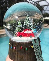 Red Truck Christmas Tree Snow Globe Vintage Farmhouse Rustic Musical Home Decor
