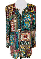 J Jill Womens Sz L Boho Floral Button Front Tunic Blouse Long Sleeve Multicolor