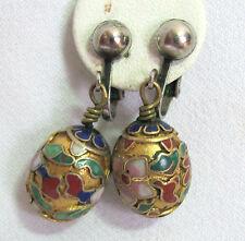 Vintage Champleve Clip Back Enamel Earrings Chinese Egg Shaped Dangles #1