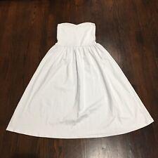 Women's ASOS White Strapless Cotton Stretch Midi Dress Size 0 Fit & Flare