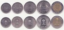 SAUDI ARABIA, 5, 10, 25, 50, 100 Halala 1980-2010 AU-UNC, Set of 5 Coins