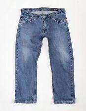 Men's CROCKER 312 Zip Fly Straight Leg Stretch Blue Denim Cropped Jeans W33 L25