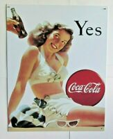 """Coca Cola YES GIRL Bathing Suit Tin Sign 12.5"""" x 16"""""""