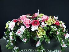 Solar Candle Double Cemetery Silk Flower Memorial Headstone/Tombstone Saddle