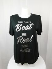 Mighty Fine Trendy Plus Size Coca-Cola Graphic Tee Shirt 1X Black #2960