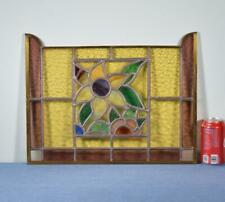*Vintage French Stained Glass Panel with Brass and Leaded Framing
