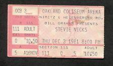 1981 Stevie Nicks concert ticket stub Oakland CA Bella Donna Fleetwood Mac