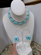 Vintage LISNER  Baby Blue Thermoset Lucite Necklace Earrings Set Silver Tone
