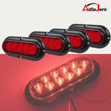 "4pcs 6"" LED Stop Light Flashing Strobe Side maker Lamp Oval Red For Trailer Bus"