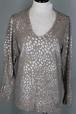 Chico's 3 16 18 Taupe  Subtle Metallic Print Tunic V-Neck Sweater 100% Cotton