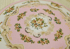 1:12 Nice Dollhouse Miniature Round Rug Floral Roses Pastel Pink Beige