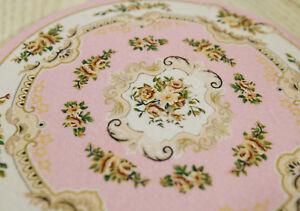 1:12 Nice Dollhouse Miniature Round Rug Floral Roses Pastel Pink Beige