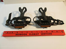 Pair of Bike Pedals with Toe Clips and nylon Strap Set