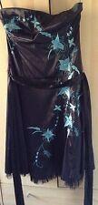 Jane Norman Black Satin Dress Size 14 Blue Floral Strapless Prom Party + Belt