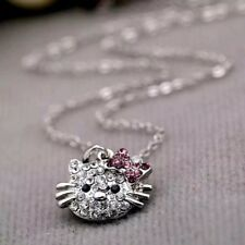 Da Donna Fashion Hello Kitty Collana con pendente cristallo Rhinestone