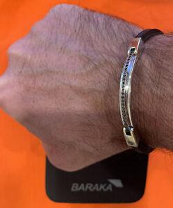 BARAKA 18k white / Rose Gold / Black Diamonds Mens Bracelet Retail $5750
