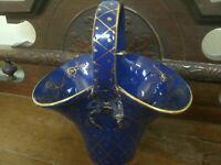 PANIERE CERAMICA BLU DEC.DORATE SANTARELLI GUALDO T. 19x13cm h20cm Made in Italy