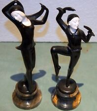 """PAIR ART DECO AUSTRIAN BRONZE  CARVED FACE DANCERS SIGNED HEIGHT=10"""" ON MARBLE"""