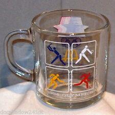 Olympic 1984 Los Angeles & McDonald Baseball Soccer Clear Glass Drinking Mug Cup