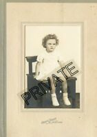 Vintage Photo in Folder-St John, Kansas-Little Girl Sitting W/Curly Hair-Grays S