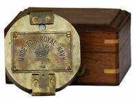 Brunton Compass Antique Vintage Royal Navy Compass With Wooden Case