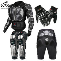 Motorcycle Jacket Armor Chest Full Body Protector Gear Shorts Knee Pads Gloves