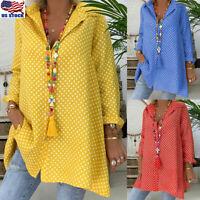 Womens Boho Long Sleeve Casual Polka Dot Summer Blouse Shirt T-Shirt Button Tops