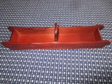 "Unused 1950's Wooden Divided Cracker Tray with Handle - 13"" x 3"""