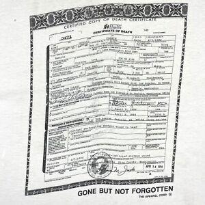 Vintage 1994 Kurt Cobain Memorial Tee Nirvana T-Shirt 90s Tribute Large Rare