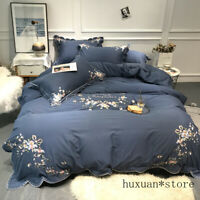 Embroidery Floral Duvet Cover Comforter Bed Sheet Cotton Queen King Bedding Set