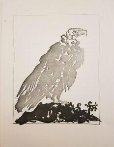 PABLO PICASSO BUFFON HISTOIRE NATURELLE LITHOGRAPH LE VAUTOUR VULTURE C1970
