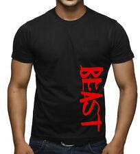 Men's Red Beast Black T Shirt Workout Bodybuilding Fitness Gym Flex Muscle Tee