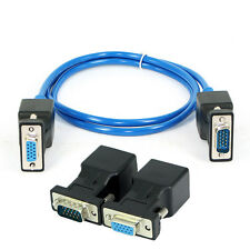 1 Pair VGA Extender Male Female to LAN RJ45 CAT5 CAT6 20M Network Cable Adapter