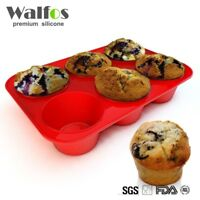 WALFOS 6 Cups Silicone Cupcake Baking Tray Mousse Cake Mold Non-Stick Muffin Pan